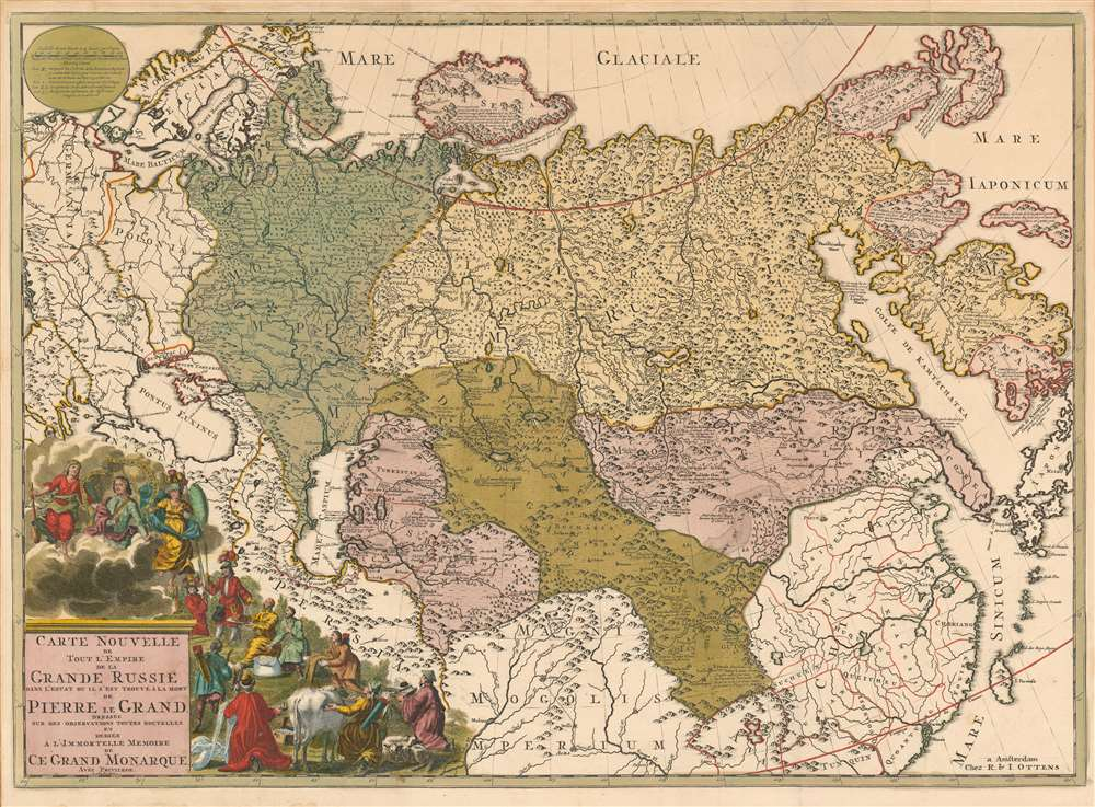 1730 Ottens Edition of Strahlenberg's First, Stolen Map of Russia