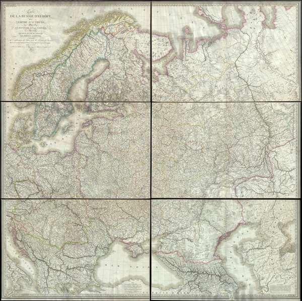 Carte de la Russie d'Europe, avec l'Empire d'Autriche, la Suede, le Danemark et la Norwege, la Prusse, le Grand Duche de Varsovie, les provinces Illyriennes, et une partie de la Confederation du Rhin et de la Turquie d'Europe.