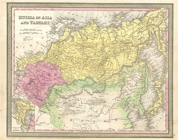 1854 Mitchell Map of Russia in Asia and Tartary