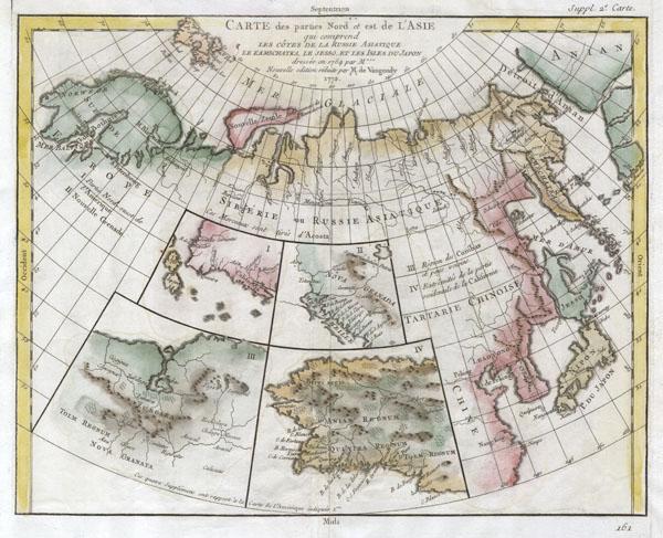 Carte des Parties Nord et Est de l'Asie qui Comprend les Cotes de la Russie Asiatique le Kamschatka, le Iesso, et les Isles du Japon.