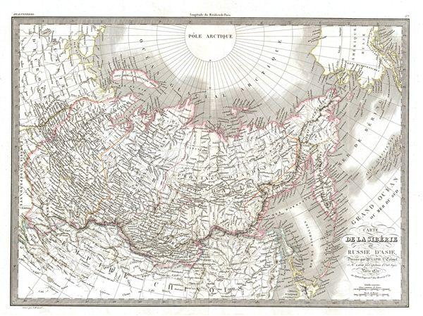 Carte de la Siberie ou Russie d'Asie.
