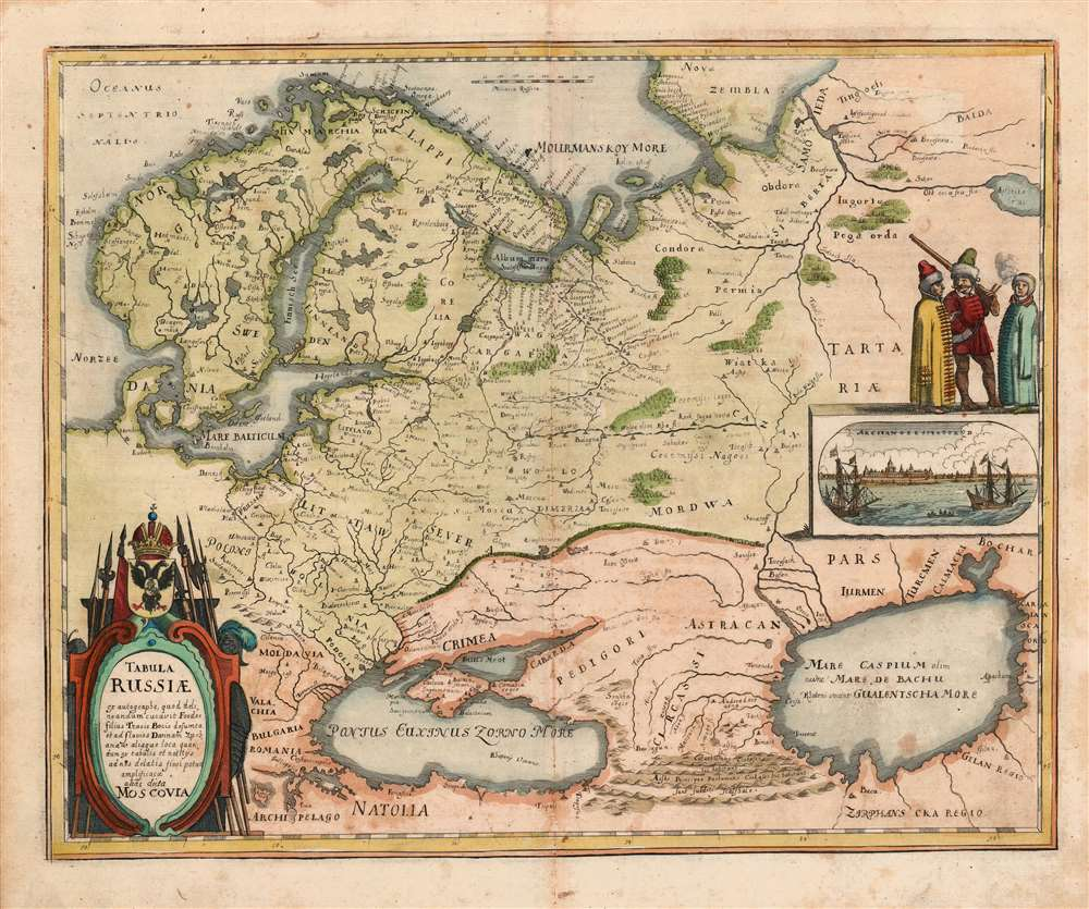 1646 Merian Map of Russia, Depicted Just After the Reign of Boris Godunov