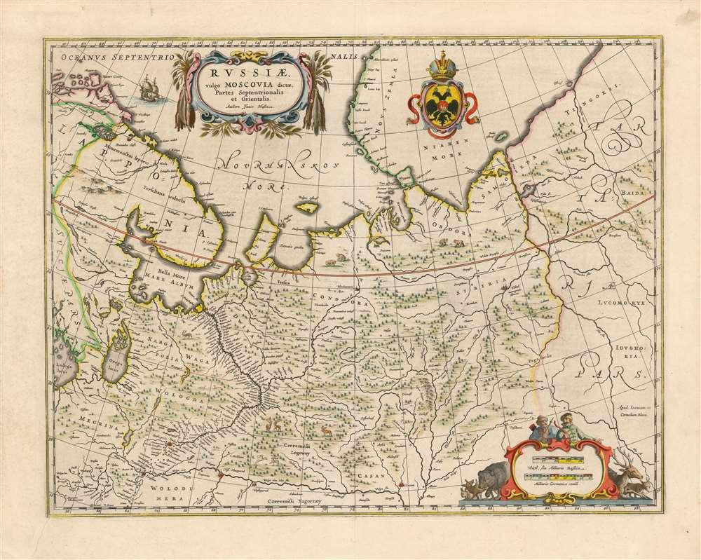 Russiae, vulgo Moscovia dictae, Partes Septentrionalis et Orientalis. - Main View