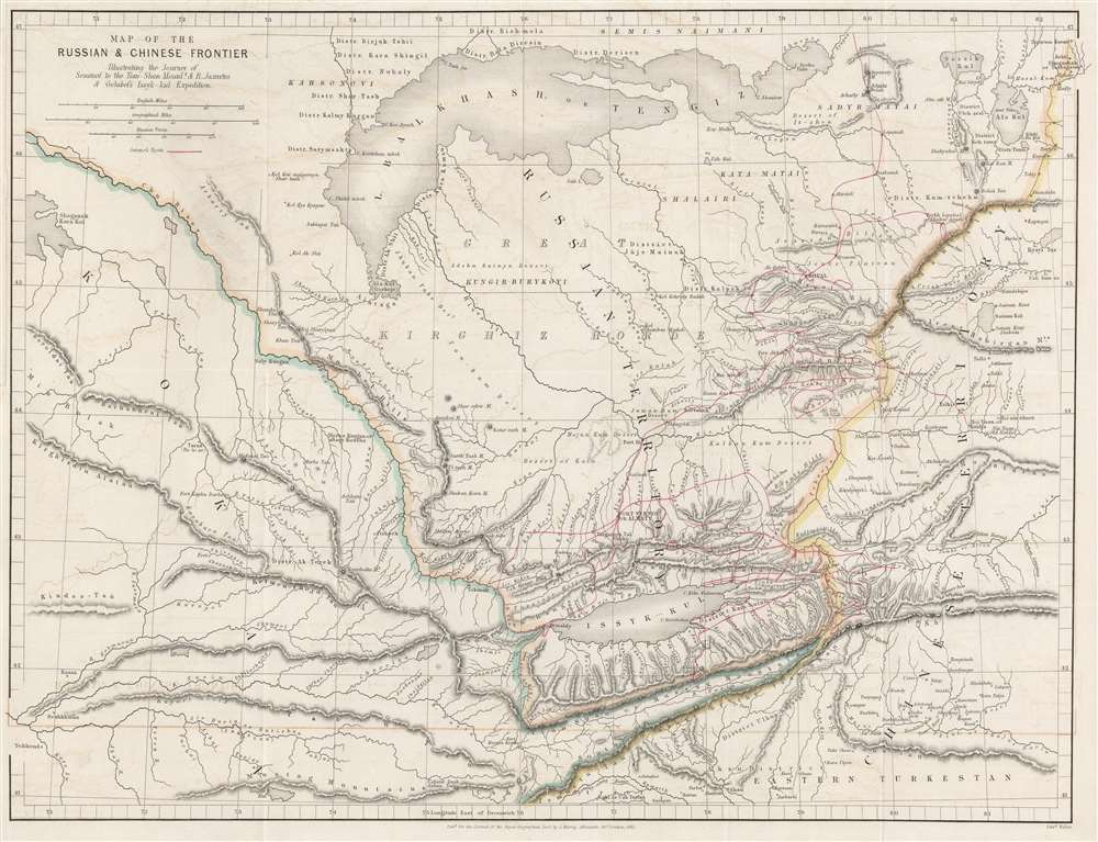 Map of Russian and Chinese Frontier Illustrating the Journey of Semenof to the Tian-Shan Mounts. and R. Jaxartes and Golubof's Issyk-kul Expedition. - Main View
