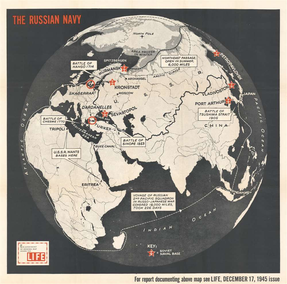 1945 Life Magazine Map of the Eastern Hemisphere w/ Russian Naval Battles