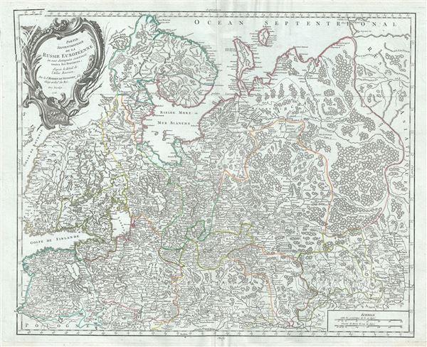 Partie Septentrionale de la Russie Europeenne ou sont distinguees exactement toutes les Provinces.