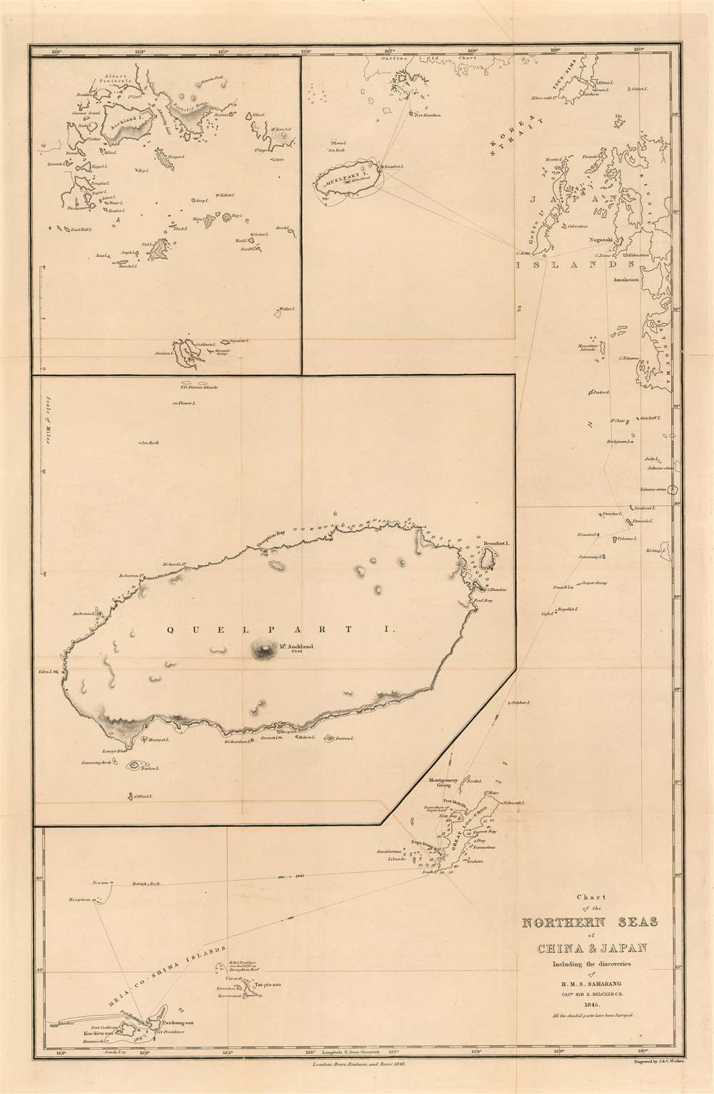 Chart of the Northern Seas of China and Japan Including the Discoveries of H. M. S. Samarang Captn, Sir E, Belcher C.B. 1845. All the shaded parts have been Surveyed.