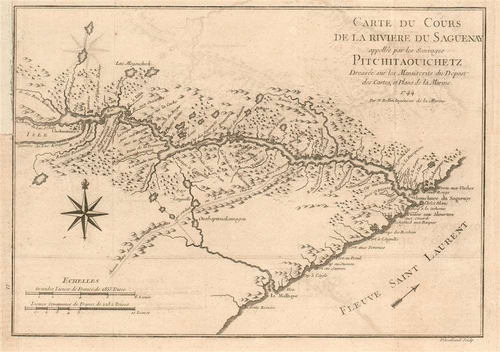 Carte Du Cours de la Riviere Saguenay appellee par les Sauvages Pitchitaouichetz - Main View