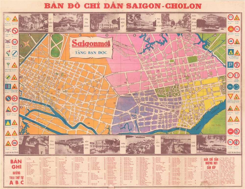 Bản  Đồ Chỉ Dẫn Saigon - Cholon. [Map of Saigon - Cholon].