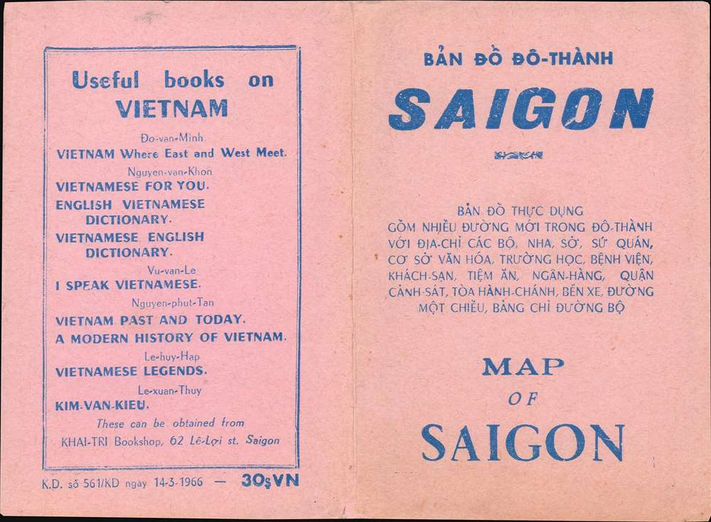 Bản Đồ Đô Thành Saigon. [Map of the City of Saigon]. - Alternate View 2