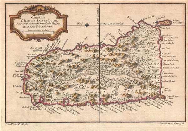 Carte de l'Isle de Sainte Lucie. Pour servir à l'Histoire Générale des Voyages.