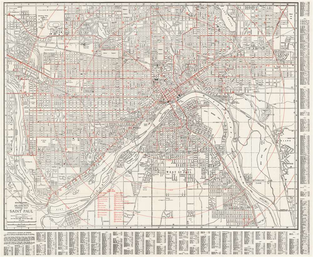 1929 Hudson Map Company City Map or Plan of Saint Paul, Minnesota