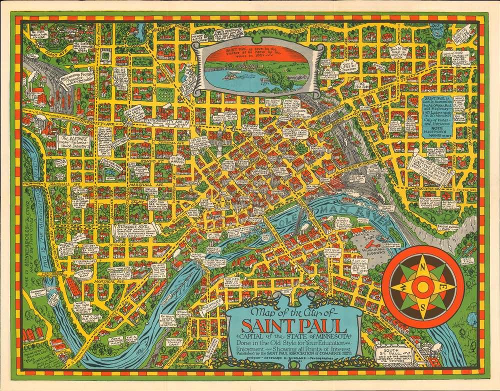 1931 Burbank Pictorial City Plan or Map of Saint Paul, Minnesota