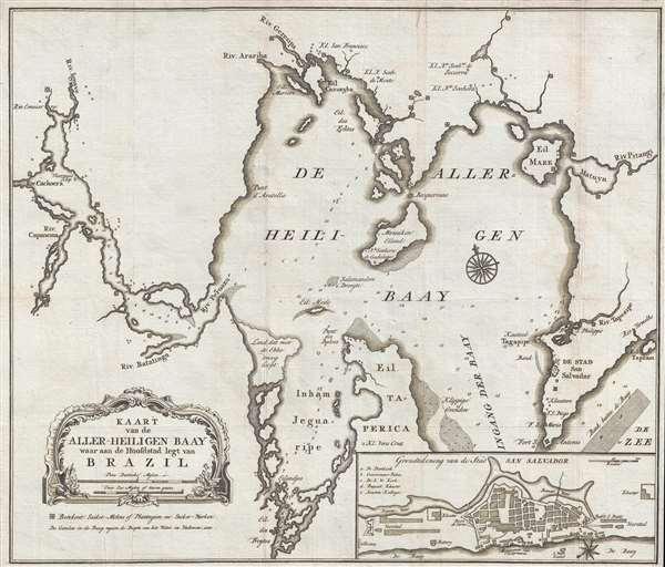 Kaart van de Aller-Heiligen Baay waar aan de Hoofdstad legt van Brazil.