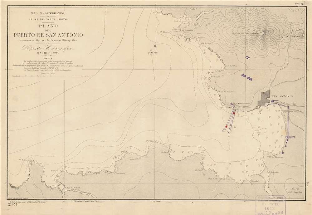 Mar Mediterráneo. Islas Baleares. Ibiza. Plano del Puerto de San Antonio. - Main View