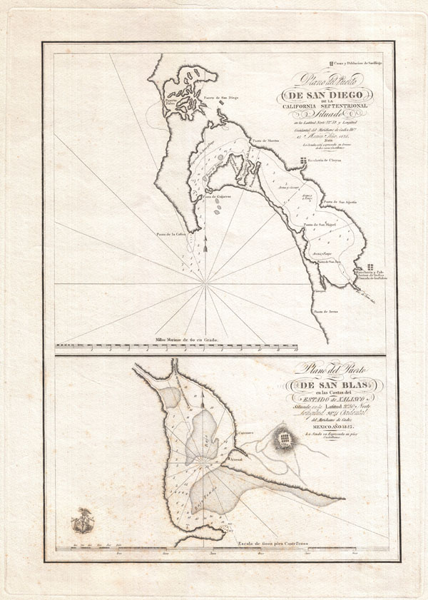 Plano del Puerto de San Diego de la California Septentrional.  Plano del Puerto de San Blas en Las Costas del Estado de Xalisco.