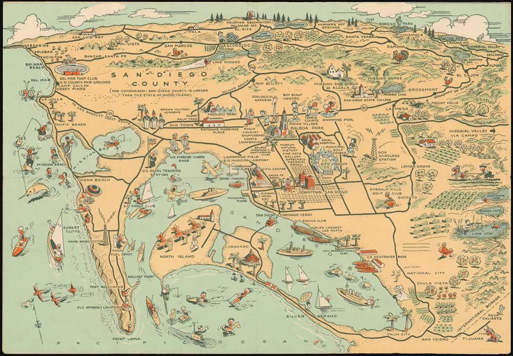 Map of San Diego California City and County. - Main View