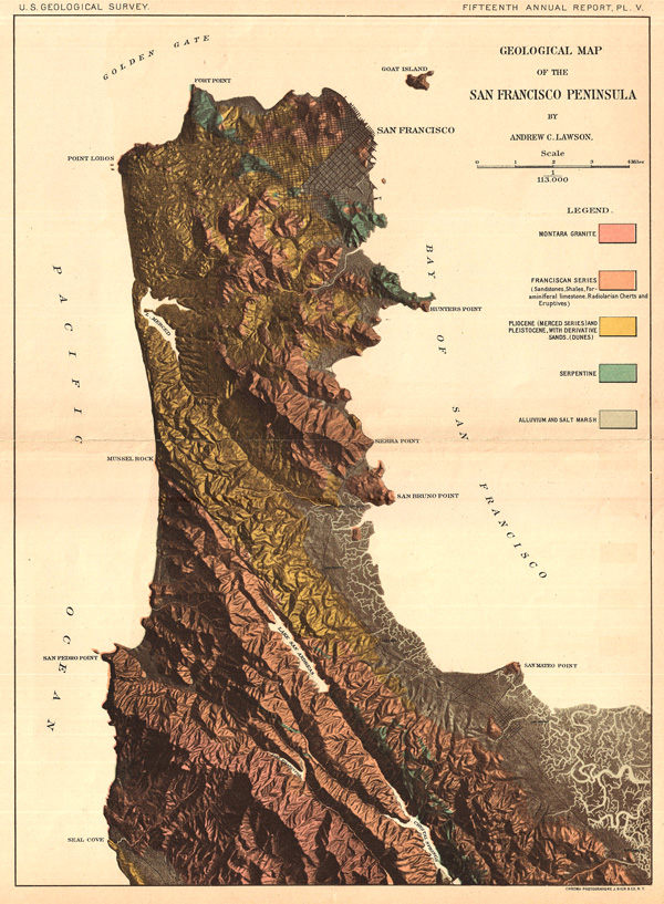 Geological Map of San Francisco Peninsula By Andrew C. Lawson.
