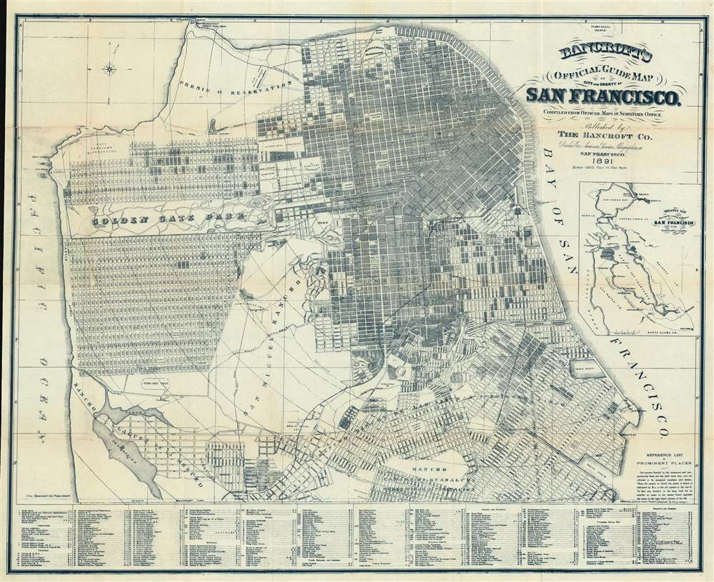 Bancroft's Official Guide Map of City and County of San Francisco, Compiled from Official Maps in Surveyor's Office. - Main View