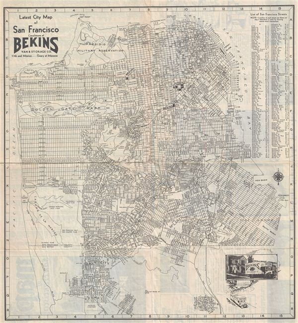 Latest City Map of San Francisco Compliments of Bekins Van & Storage Co. 13th and mission…Geary at Masonic