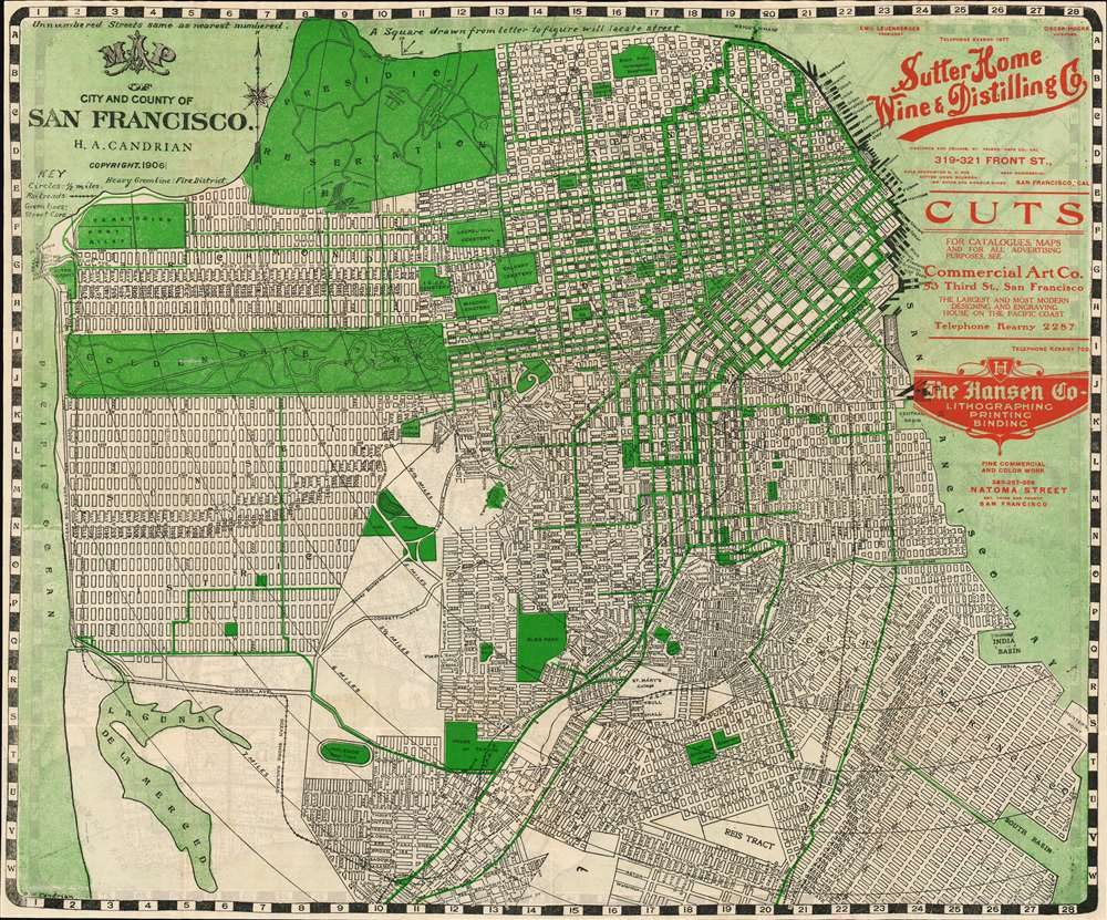 Map of Oakland Alameda and Berkeley. / Map of the City and County of San Francisco. - Alternate View 1