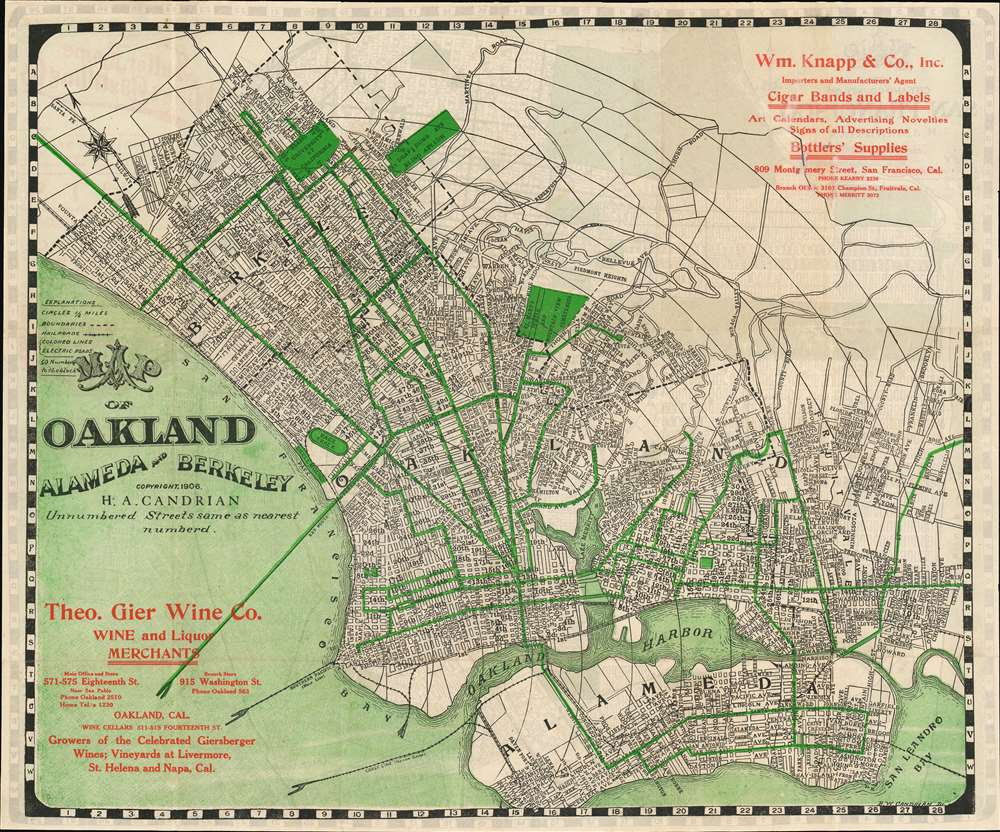 Map of Oakland Alameda and Berkeley. / Map of the City and County of San Francisco. - Main View