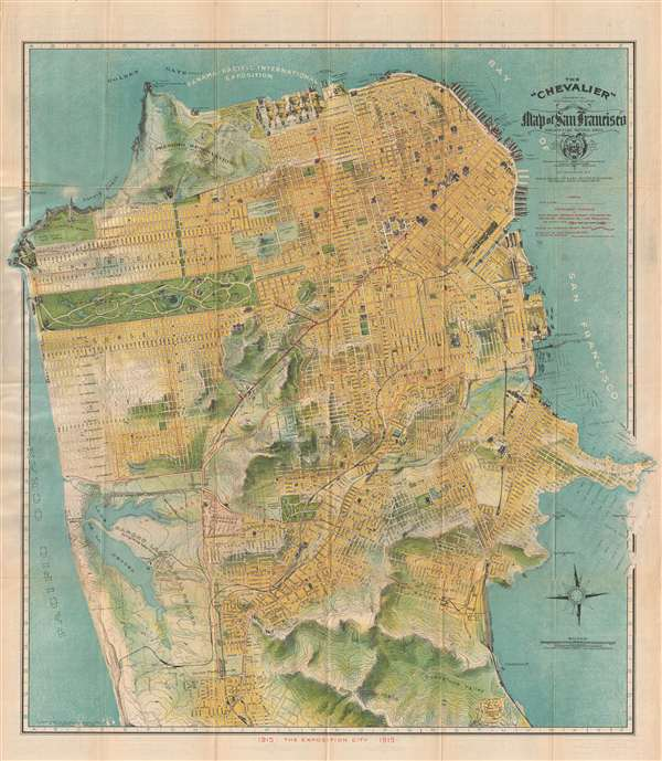 San Francisco Map Tourist.The Chevalier Commercial Pictorial And Tourist Map Of San