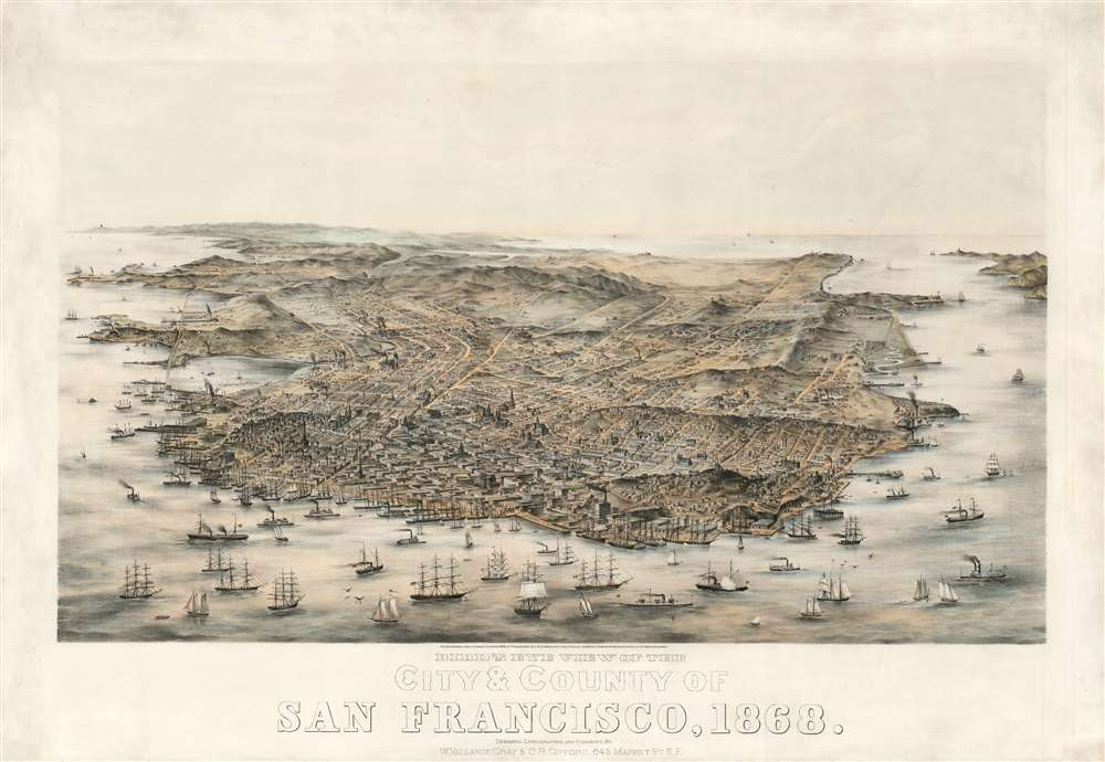 Bird's Eye View of the City and County of San Francisco, 1868. - Main View