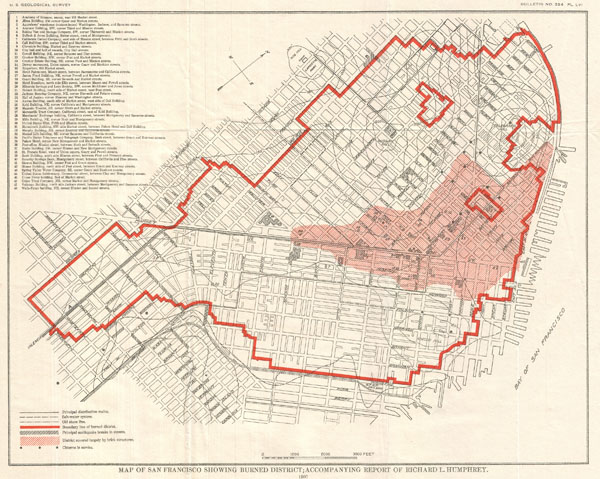 Map of San Francisco Showing Burned District; Accompanying Report of Richard L. Humphrey.