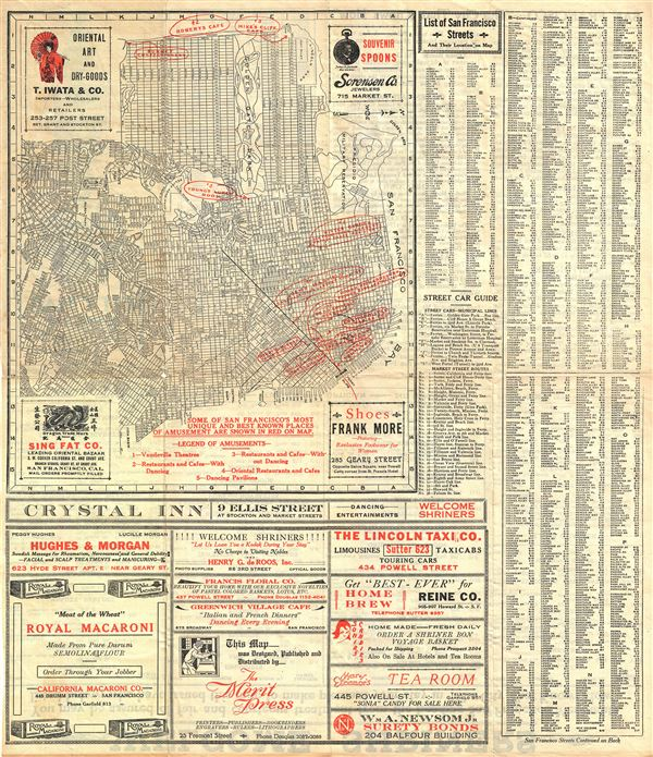 June 1922 San Francisco Merchants.  City Map Street Car Shopping and Amusement Guide.
