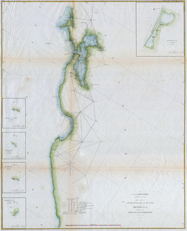 Sketch J Showing the Progress of the Survey in Section No. X (middle sheet) From pt. Sal to Tomales Bay.