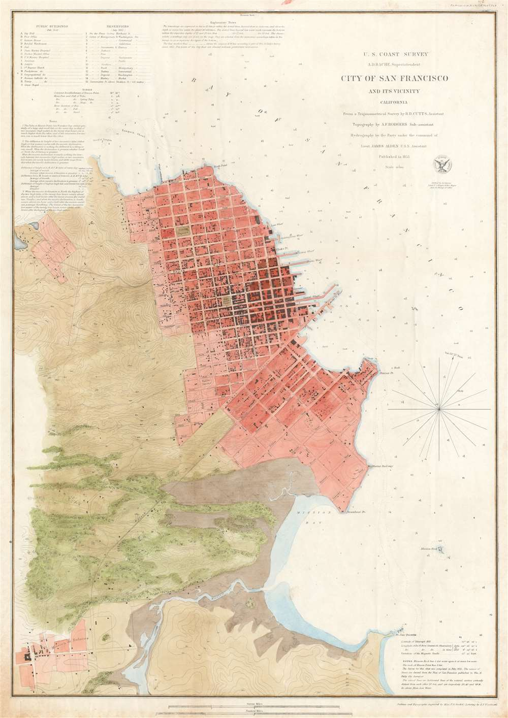1853 U.S. Coast Survey Chart or Map of San Francisco, California