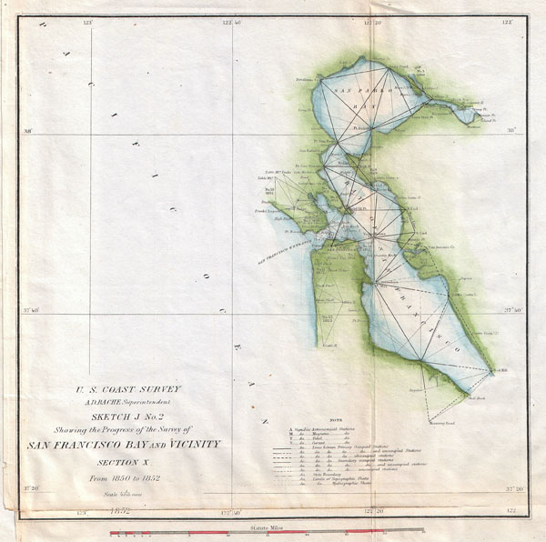 Sketch J. No. 2 Showing the Progress of the Survey of San Francisco Bay and Vicinity Section X From 1850 to 1852.
