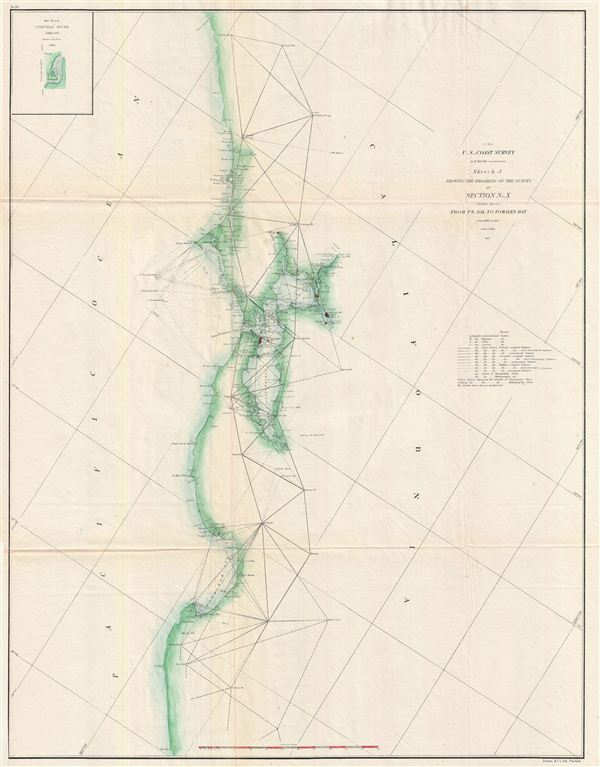 (J bis) Sktech J Showing the Progress of the Survey in Section No. X (Middle Sheet) From Pt. Sal to Tomales Bay from 1850 to 1862.