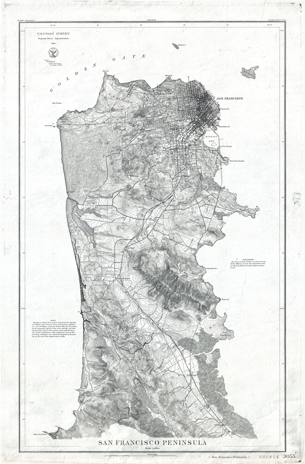 San Francisco Peninsula. U.S. Coast Survey. Benjamin Peirce, Superintendent. 1869. Price $1.50. Verified J.E. Hilgard. Assist Coast Survey. In Charge of Office. - Main View