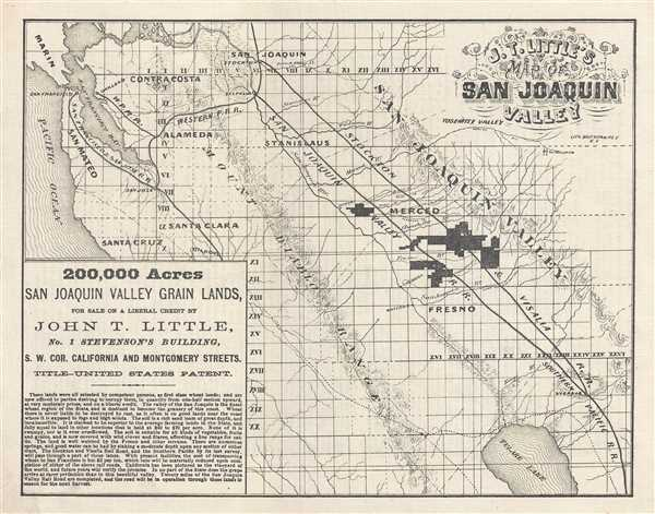 John T Little S Map Of San Joaquin Valley Geographicus Rare
