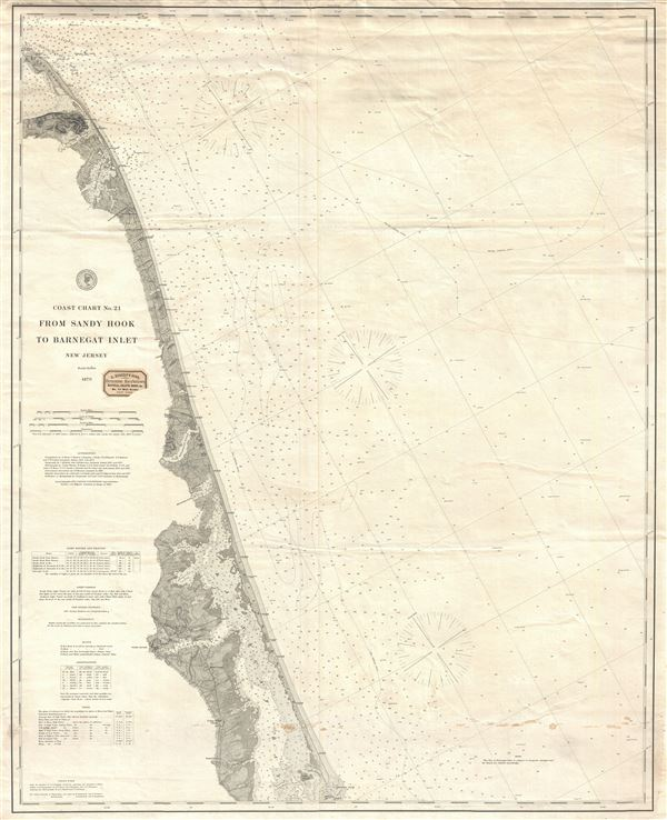 Coast Chart No. 21 From Sandy Hook to Barnegat Inlet New Jersey.