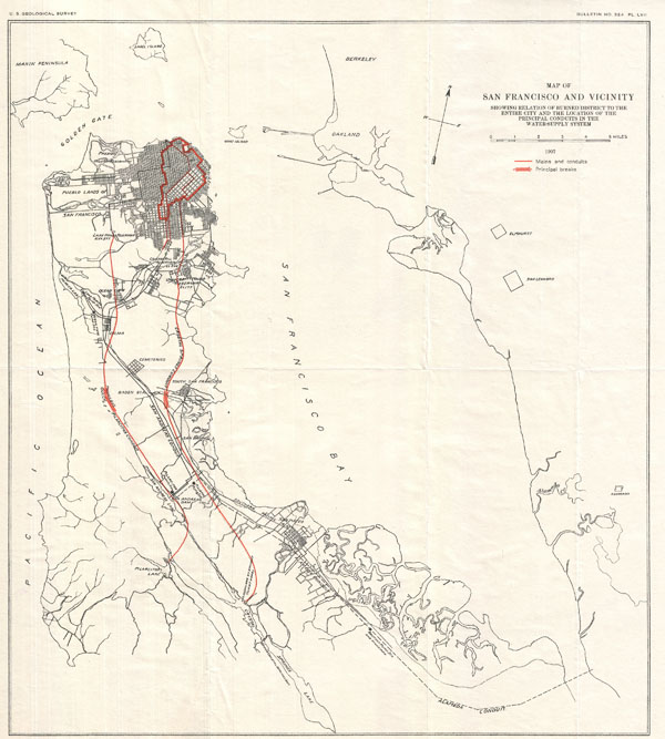 Map of San Francisco and Vicinity Showing Relation of Burned District to the Entire City and the Location of the Principal Conduits in the Water-Suppy System. - Main View