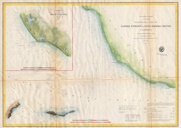 Preliminary Chart of Eastern Entrance to Santa Barbara Channel Claifornia. - Main View