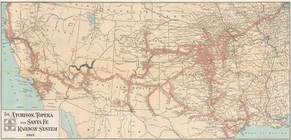 The Atchison Topeka And Santa Fe Railway System Geographicus - Railroad-us-map