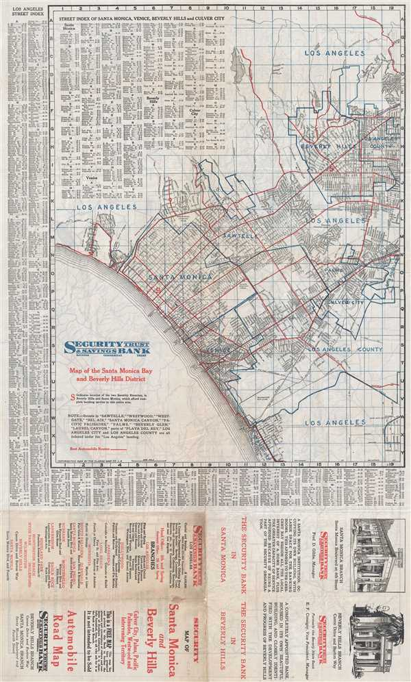 Map of Santa Monica Bay and Beverly Hills District.
