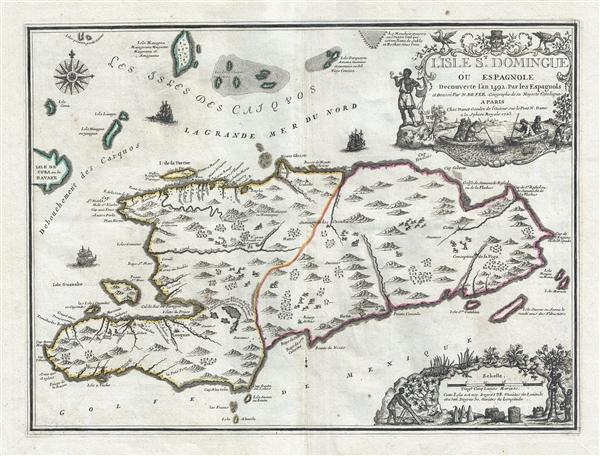 L'Isle St. Domingue ou Espagnole Decouverte l'an 1492 par les Espagnols.