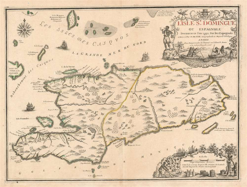 L'Isle St. Domingue ou Espagnole Decouverte l'an 1492 par les Espagnols. - Main View