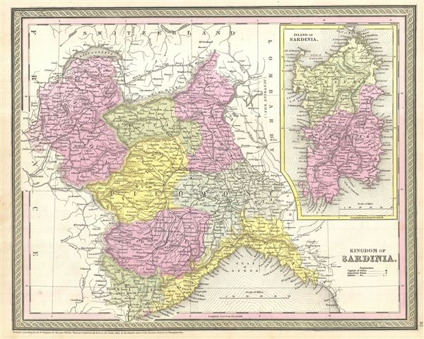 1854 Mitchell Map of Italy: Kingdom of Sardinia and Piedmont