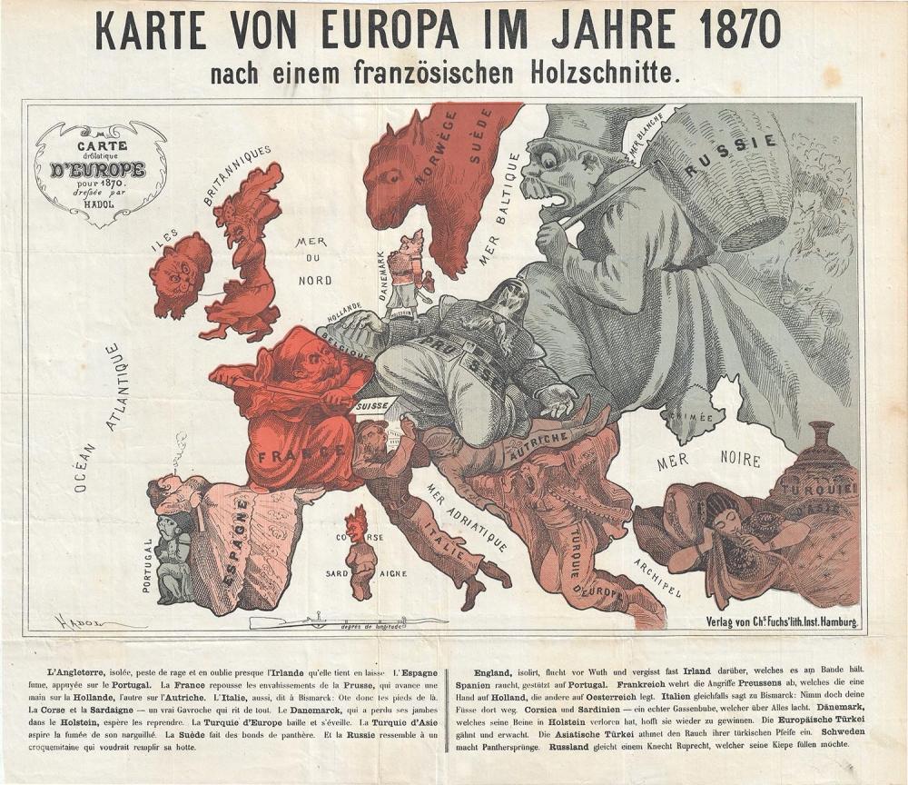 Karte Von Europa im Jahre 1870 nach einem französischen Holzschnitte./Carte drôlatique d'Europe pour 1870.