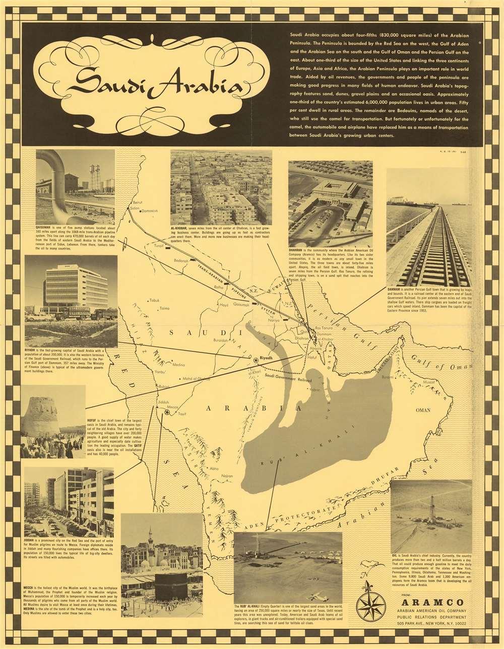 1968 Aramco Map of Saudi Arabia