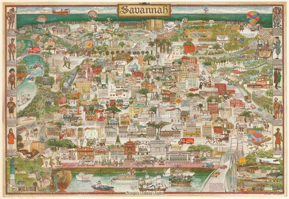 1983 Esguerra Pictorial Map of Savannah, Georgia
