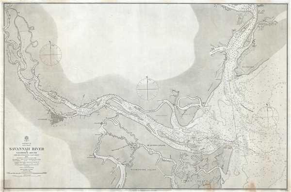 America East Coast Savannah River & Calibogue Sound from the United States Coast Survey 1855 with additions & corrections from survey of 1862.