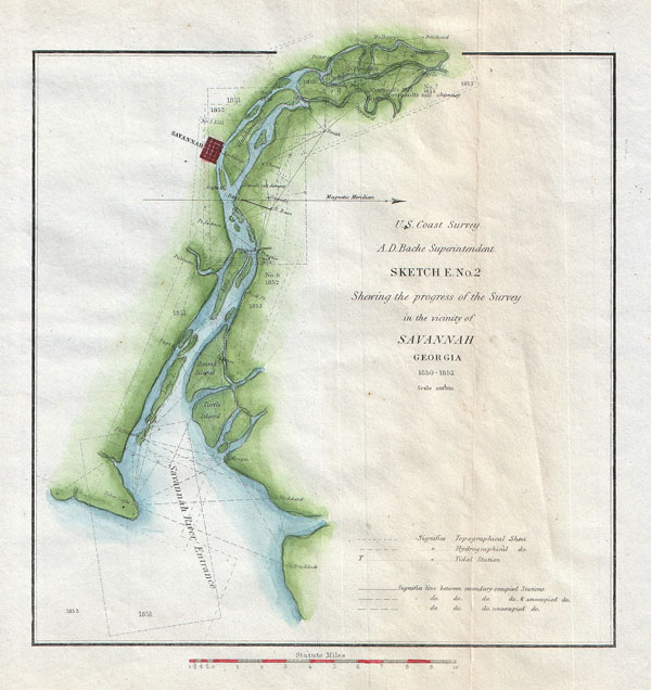 Sketch E. No. 2, Showing the Progress of the Survey in the Vicinity of Savannah Georgia 1850 - 1852. - Main View