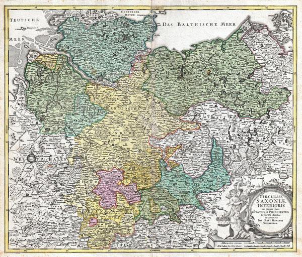 Circulus Saxoniae Inferioris inomnes sous Status en Principatus accurate divisus ex conatibus Joh Bapt Homanni Norimbergae. - Main View